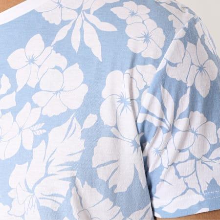Bellfield - Tee Shirt Oversize Asbjorn Bleu Clair Blanc Floral