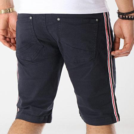 MZ72 - Short Jean A Bandes Fold Bleu Marine