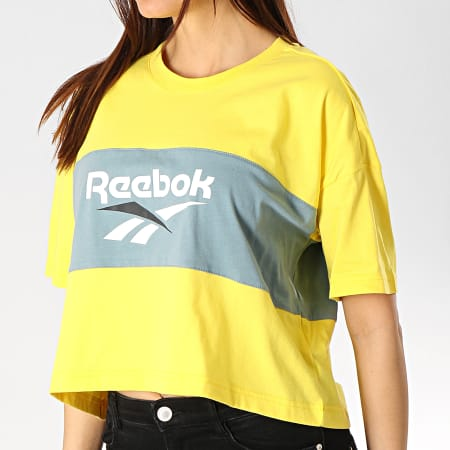 Reebok Tee Shirt Crop Femme Cropeed DX3814 Jaune Vert Kaki