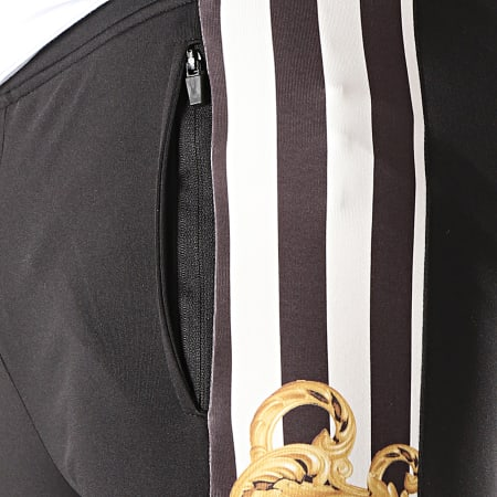 Gianni Kavanagh - Pantalon Jogging A Bandes Baroque And Stripes Noir Blanc Jaune Renaissance