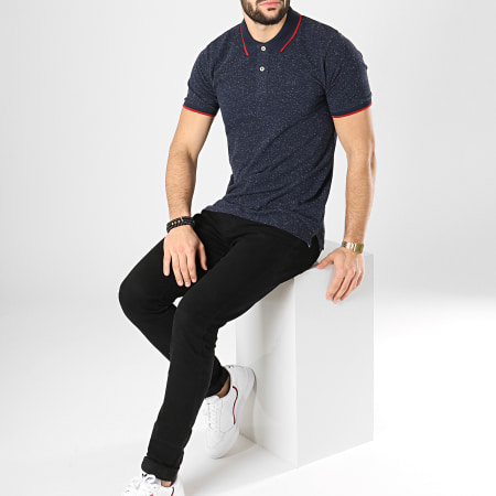 Jack And Jones - Polo Manches Courtes Roger Bleu Marine Chiné