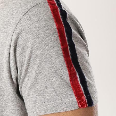 Brave Soul - Tee Shirt A Bandes Garza Gris Chiné Rouge Bleu Marine