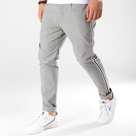 Brave Soul - Pantalon A Bandes Sterling Noir Blanc
