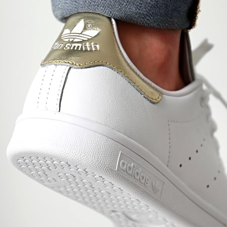 stan smith baskets basses white gold metallic 50% de