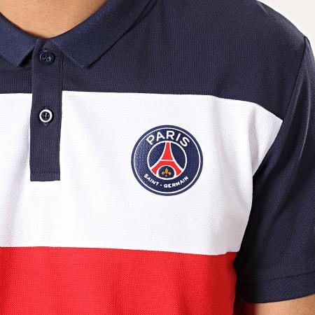 PSG - Polo Manches Courtes Color Block Paris Saint-Germain P12892 Bleu Marine Blanc Rouge