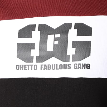 Ghetto Fabulous Gang - Sweat Capuche Gang Tricolore Bordeaux Blanc Noir