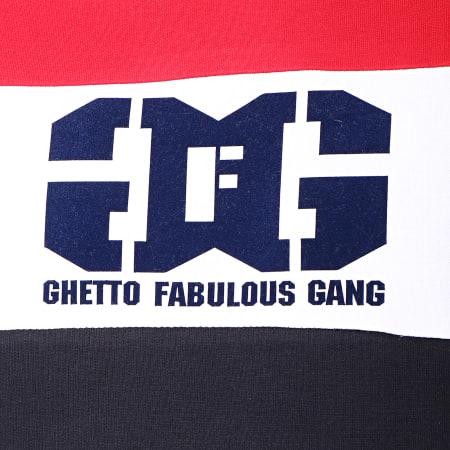 Ghetto Fabulous Gang - Sweat Capuche Gang Tricolore Bleu Marine Rouge Blanc