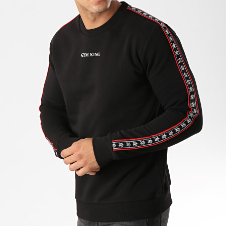 Gym King - Sweat Crewneck A Bandes La Crew Noir