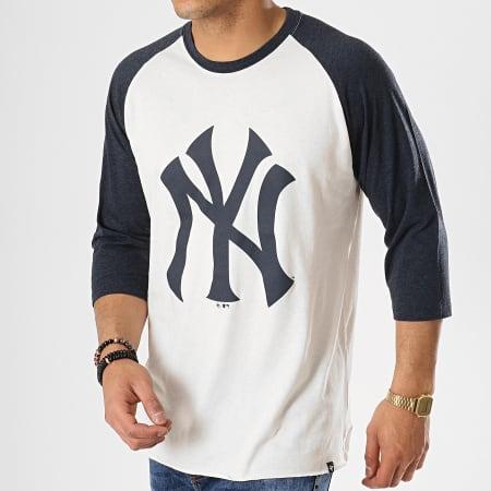 '47 Brand - Tee Shirt Raglan New York Yankees Beige Bleu Marine