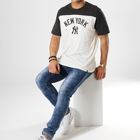 '47 Brand - Tee Shirt New York Yankees Beige Gris Anthracite