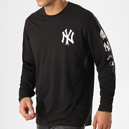 '47 Brand - Tee Shirt Manches Longues New York Yankees Noir Blanc