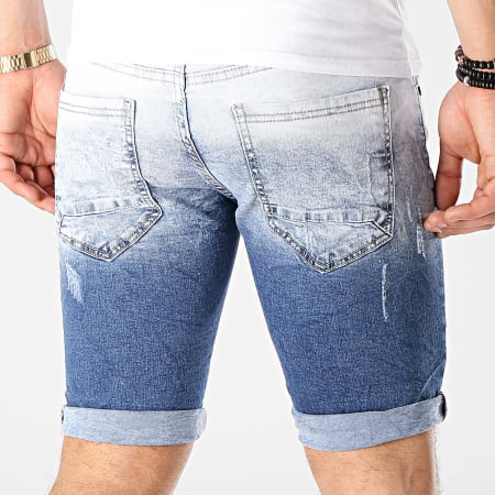 MTX - Short Jean Slim E6851 Bleu Wash Bleu Denim Dégradé