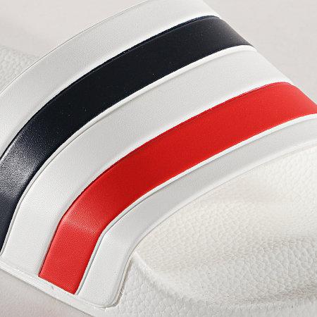 LBO - Claquettes 681 Blanche Tricolore Bleu Blanc Rouge