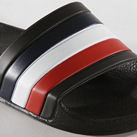 LBO - Claquettes 682 Noir Tricolore Bleu Blanc Rouge