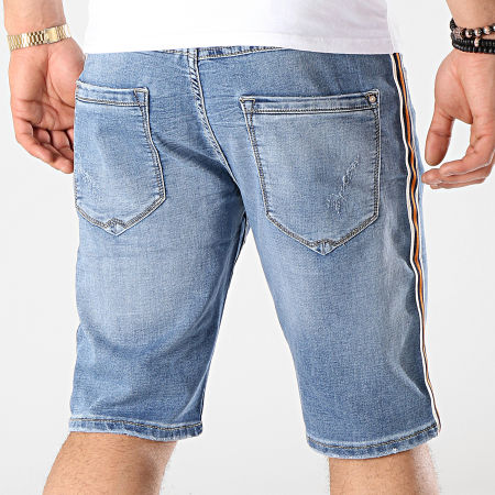 Mtx - Short Jean Avec Bandes Y1730 Bleu Denim