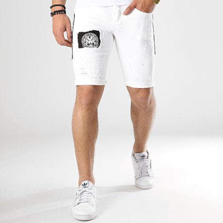 Classic Series - Short Jean Patchs Brodés 6161 Blanc