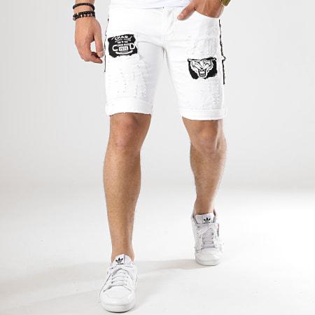 Classic Series - Short Jean Patchs Brodés 6160 Blanc