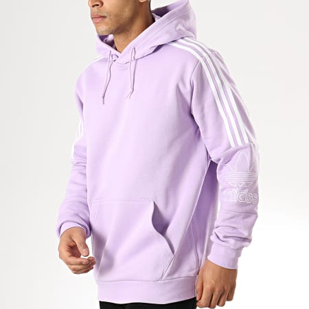 adidas Sweat Capuche Bandes Brodées Outline DX3849 Lilas