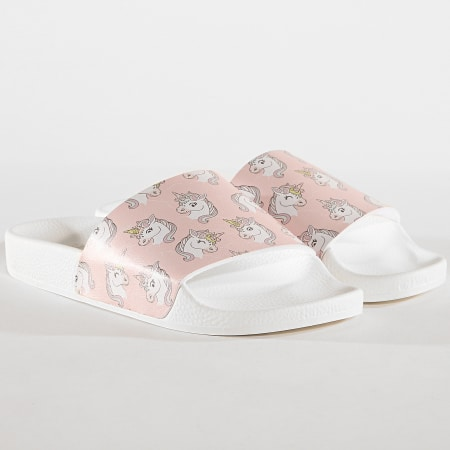 Girls Only - Claquettes Femme Unicorns L0013 Blanc Rose