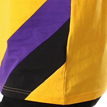 New Era - Tee Shirt NBA Colour Block Los Angeles Lakers Jaune Violet Noir