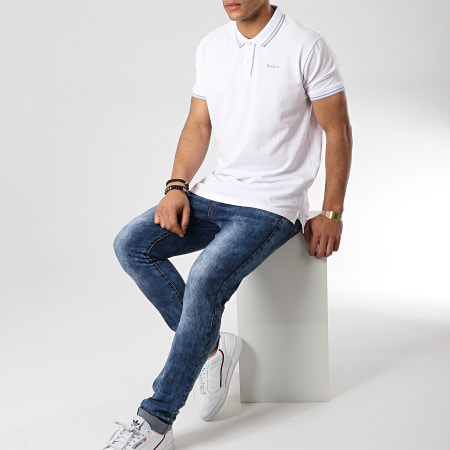 Pepe Jeans - Polo Manches Courtes Mitch PM541206 Blanc