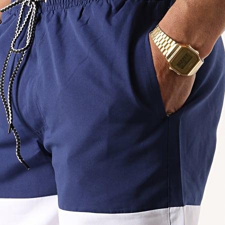 John H - Short De Bain 2P015 Bleu Marine Blanc