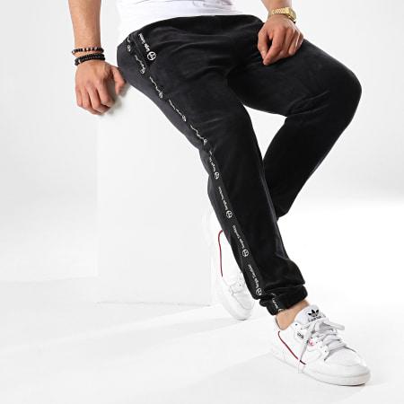 Sergio Tacchini - Pantalon Jogging A Bandes Original 37862 Noir Velours
