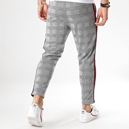 Aarhon - Pantalon Carreaux Avec Bandes Noir Rouge 18-228-4 Gris Noir