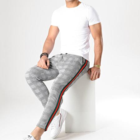 Aarhon - Pantalon Carreaux Avec Bande Vert Rouge 18-228-5 Gris Noir