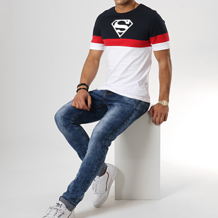 Superman - Tee Shirt Tape Tricolore Bleu Marine Blanc Rouge