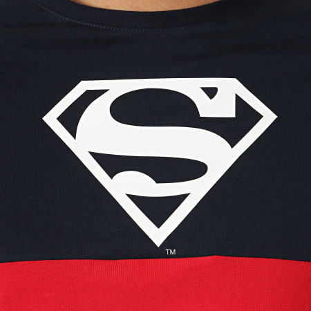 Superman - Tee Shirt Tape Tricolore Bleu Marine Blanc Rouge