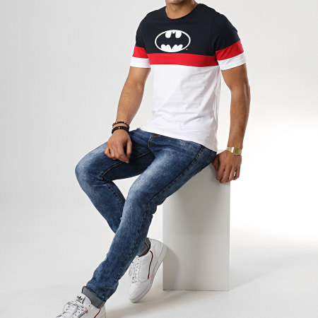 Batman - Tee Shirt Tape Tricolore Bleu Marine Blanc Rouge