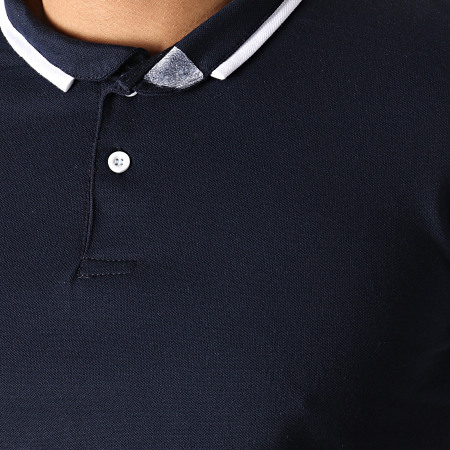 Aarhon - Ensemble Polo Et Short AJ211 Bleu Marine Blanc