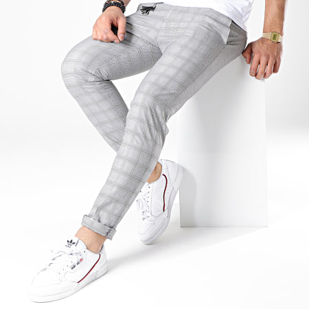 Ikao - Pantalon Carreaux F560 Gris