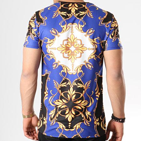 Uniplay - Tee Shirt T605 Bleu Roi Renaissance Noir Blanc