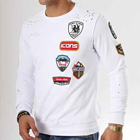 Uniplay - Sweat Crewneck Patchs Brodés 08 Blanc
