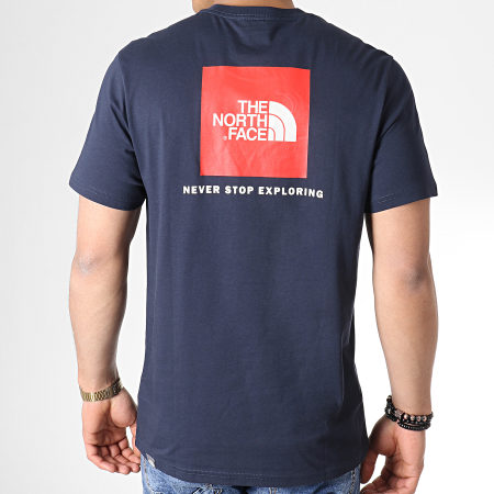 The North Face - Tee Shirt Woodcut A3G1 Bleu Marine Rouge