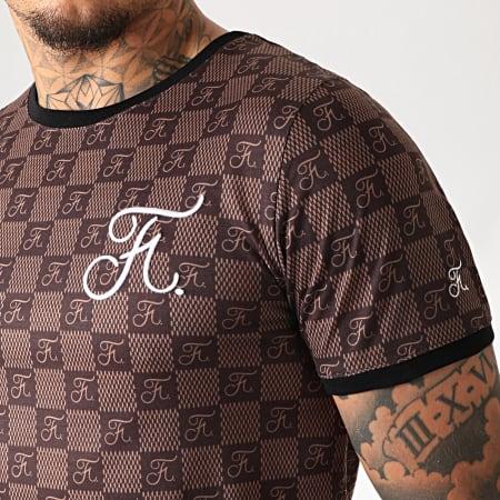 Final Club - Tee Shirt Premium Fit Damier Avec Broderie 254 Marron