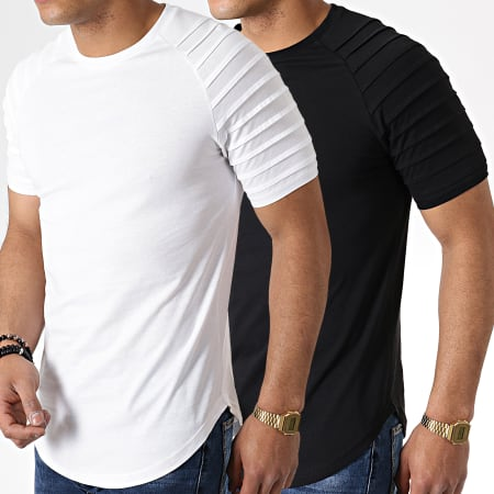 LBO - Lot de 2 Tee Shirts Oversize 694 Noir Et Blanc