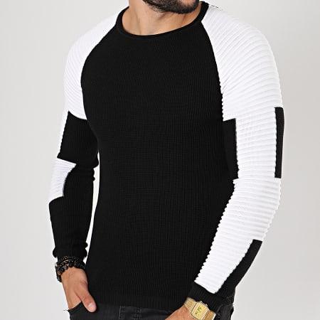 LBO - Pull Avec Empiecement Blanc JUM-07 Noir