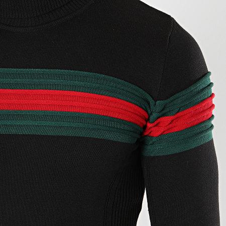 LBO - Pull Col Roulé Avec Bande Vert Et Rouge JUM-11 Noir