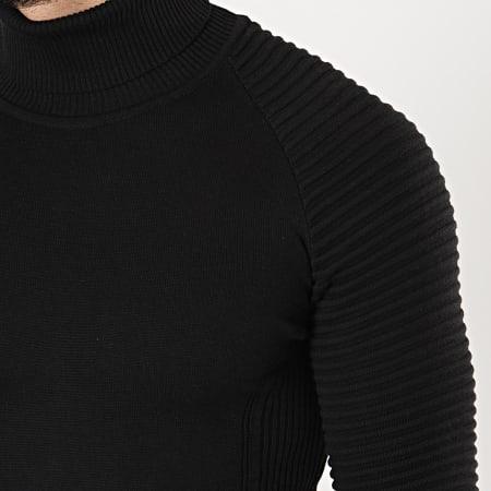 LBO - Pull Col Roulé Avec Empiecement Uni JUM-12 Noir