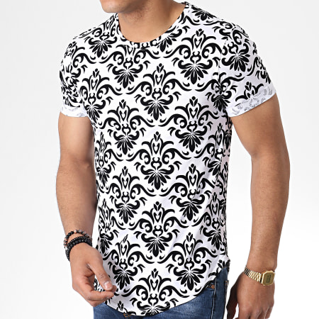 Frilivin - Tee Shirt Oversize 7241 Blanc Noir