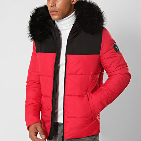 Final Club - Doudoune Fourrure Premium Big Puffa Rouge Noir