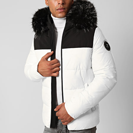 Final Club - Doudoune Fourrure Premium Big Puffa Blanc Noir Gris