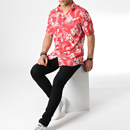 Only And Sons - Chemise Manches Courtes Floral Larry Rouge