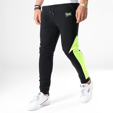 Y et W - Pantalon de Jogging Réversible Fluo Revers Noir Jaune