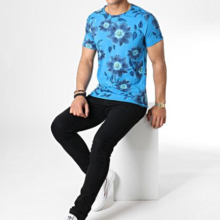 MTX - Tee Shirt TM0177 Floral Bleu Clair