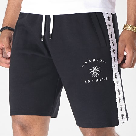 Anthill - Short Jogging Avec Bandes Tape Noir Blanc