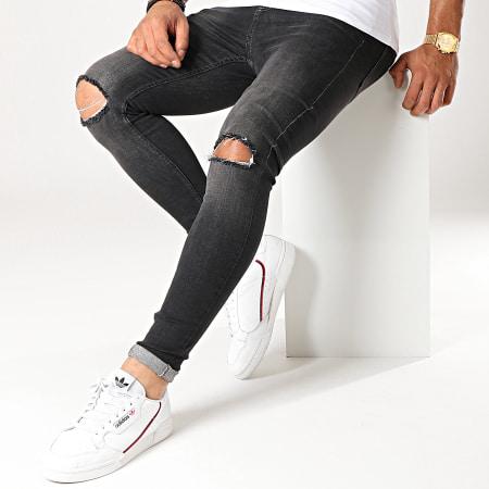 LBO - Jean Super Skinny Fit Troué 791 SS-12B Denim Noir